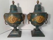 SUPURB PAIR LATE 18th CENTURY FRENCH TOLEWARE LIDDED URNS RAMS HEAD MOUNTS