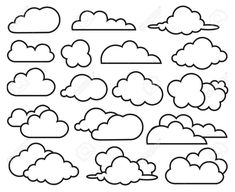 monochrome illustration of clouds collection