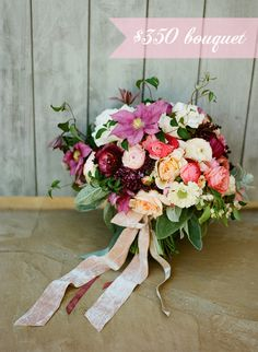 A wedding bouquet and other flowers can get pretty pricey, be sure you know what things cost and not just what you like before speaking with a florist. Stay flexible. A color scheme is often the best route to take unless there is one absolute must have flower or an absolutely no way flower.  Christina McNeill, Twig & Twine