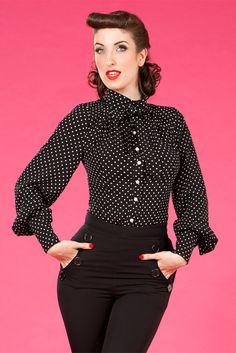 Kami-Lou - Sweet lady like tie blouse with high waist black pants.
