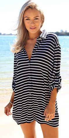 Fashion Long Sleeve Loose Striped Shirt Dress