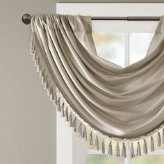 You'll enjoy the charming look this Madison Park Juline waterfall embellished window valance will bring to your space. Drapes And Blinds, Drapes Curtains, Paris Room Decor, Custom Drapes, Custom Valances, Elegant Curtains, Painting Trim, Victorian Decor, Window Dressings