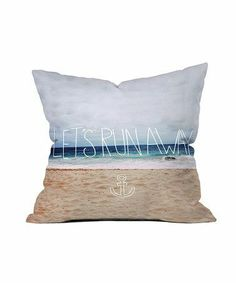 Let's run away, beach print pillow. My favorite reading nook needs this!!