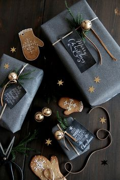 sophisticated christmas wrapping with gray & gold & greenery