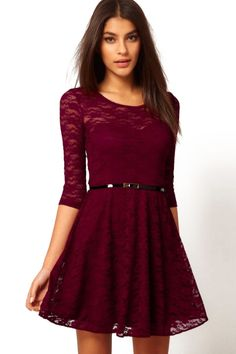 Belt Sheer Lace Wine Red Dress, only $13!!!