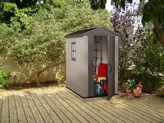 Factor Resin Outdoor Storage Shed - Taupe/Beige - Keter, Beige/Brown Garden Storage Shed, Outdoor Storage Sheds, Resin Sheds, Home Depot Shed, Plastic Sheds, Cheap Sheds, Shed Kits, Taupe, Resin