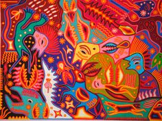 Sanchez Yarn Painting - photo by Lynn Maycroft - the work of Jose Benitez Sanchez - widely considered the master of the medium of yarn paintings of the Huichol Indians of northwestern Mexico - from visions triggered by the peyote cactus.  Please see the tribal website for more information and to purchase their art: www.tribesgallery.com/huichol/yarn_jbs.html  updtd 4/16/09