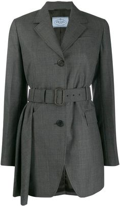 Prada Belted Long Blazer In Grey World Of Fashion, Fashion Brands, Prada, Chinese Clothing, Formal Wear, Double Breasted, Women Wear, Belt