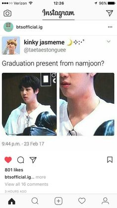 Jin Namjoon graduation present neck Namjin, Bts Memes, Funny Memes, Hilarious, Seokjin, Hoseok, About Bts, Min Suga, Bulletproof Boy Scouts