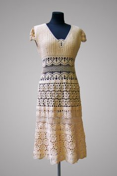 Crochet dress Sophie. Ecru cotton party or casual crochet dress. Made to order.