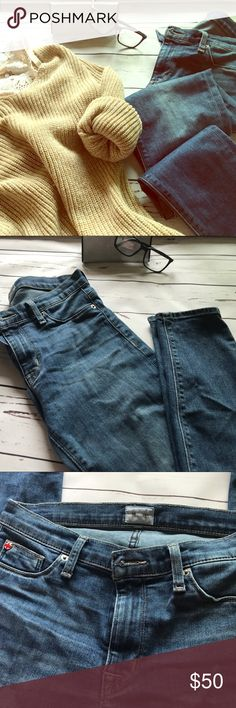 "Hudson Jeans There's a minor flaw (as shown in the last few pics) there's a worn spot that hasn't become a hole. I have taken pictures of both the outside and inside of the jean. They have a little stretch but not much.  Super skinny!   Inseam ** 27"" . Hudson Jeans Jeans Skinny"