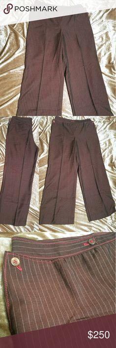 Alberta Ferretti brown stripe pants like NEW lightweight, unlined brown dress pants with tan fine dot striping and red contrast stitching  52% virgin wool, 48% rayon Philosophy di Alberta Ferretti Pants