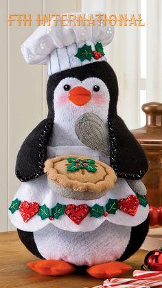 Bucilla Chef Penguin ~ Felt Christmas Decoration Kit # 86334 ~ 2012 Publication in Craft, Craft w Felt Christmas Decorations, Felt Christmas Ornaments, Christmas Sewing, Christmas Home, Holiday Crafts, Holiday Decor, 242, Felt Applique, Diy Weihnachten