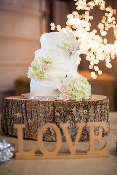 wedding cake on tree stump - Google Search