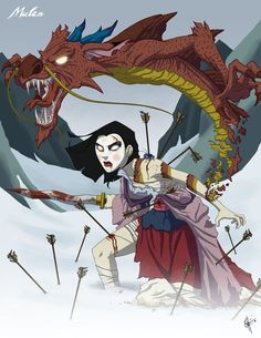 Twisted Princess: Mulan by on DeviantArt Zombie Disney, Disney Halloween, Princesas Disney Zombie, Disney Horror, Creepy Disney Princess, Twisted Disney Princesses, Evil Princess, Zombie Princess, Disney Princess Tattoo