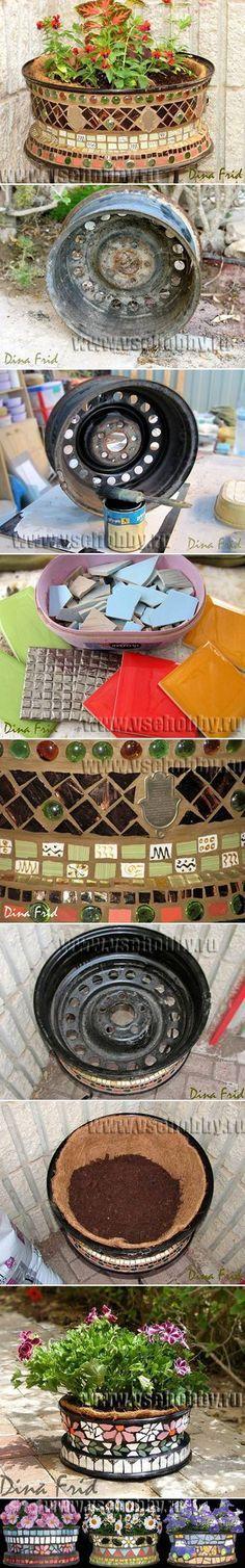 DIY Mosaic Plant Pot from Old Wheel #garden #planter #repurpose