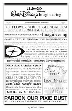 """Walt Disney Imagineering Typography by Richard Terpstra. Would be sooo cute as background paper in scrapbook! Quite on the uncensored artists wall here: """"I came, I worked, I put it in my resume. Disney Dream, Disney Love, Disney Magic, Disney Pixar, Disney Rides, Disney Couples, Disney Villains, Disney Facts, Disney Quotes"""