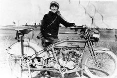 Woman with Harley Davidson, circa 1912