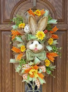 Easter Wreaths, Holiday Wreaths, Spring Wreaths, Hoppy Easter, Easter Bunny, Easter Flowers, Easter Holidays, Wreath Crafts, Deco Mesh Wreaths