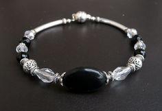 Genuine Black Onyx Swarovski Crystal Silver Plated by IslandGirl77