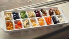 Snacks for kids in an ice tray for variety
