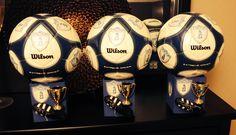 Soccer Ball Centerpieces Soccer Theme Parties, Soccer Party, Grad Parties, Soccer Ball, Soccer Banquet, Bar Mitzvah, Banquet Ideas, Volleyball, Centerpieces
