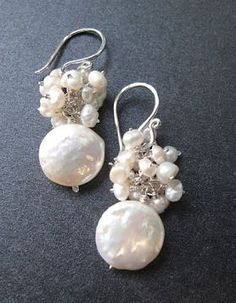 Cosmopolitan 32 Clusters of ivory pearl earrings by Calico Juno Jewelry Available in Sterling Silver or 14k Gold Fill