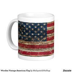 Wooden Vintage American Flag Basic White Mug
