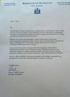 Letter from Mayor Robert Seader of Dunellen, NJ