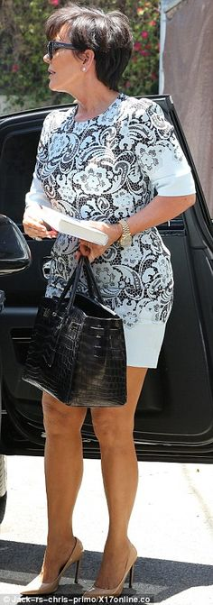 Letting the side down: Kris Jenner showed off her legs for the occasion as she joined her daughter Kim Kardashian