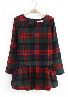 Green Plaid Draped V-neck Above Knee Wool Dress