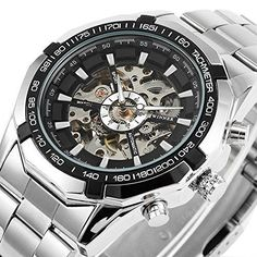 NEW Mens Watch Mechanical Stainless Steel Analog Wristwatch Bracelet Silver Gift #Affut
