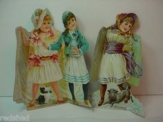 2 Antique Mclaughlins Coffee Paper Doll Trade Card Cut Victorian Fold Out 1800's (12/07/2011)