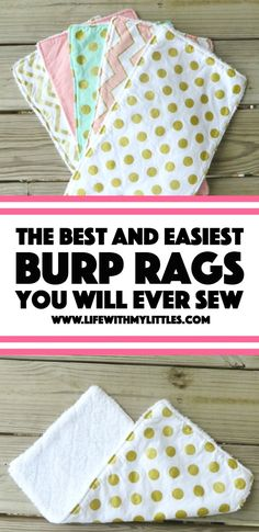 The Easiest (and Best) Burp Rags You Will Ever Sew is part of Diy baby stuff - This is the easiest tutorial for a burp rag you could make! Only three steps, and they are the best DIY burp rags! Great for easy baby gifts, too Sewing Patterns Free, Free Sewing, Burp Cloth Patterns, Diy Burp Cloth, Clothes Patterns, Homemade Burp Cloths, Burp Cloth Tutorial, Bib Tutorial, Tutorial Sewing