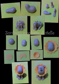 Make lion (use fondant or sugarpaste) Fimo Clay, Polymer Clay Projects, Polymer Clay Art, Clay Crafts, Fondant Animals, Clay Animals, Dear Zoo Cake, Biscuit, Safari Cakes