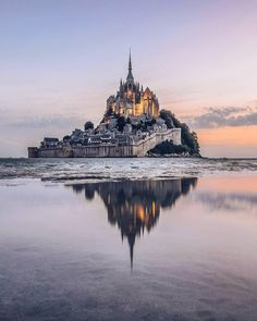 Le Mont-Saint-Michel is an island commune off the coast of Normandy, France. and is 100 hectares acres) in size. Places Around The World, The Places Youll Go, Places To See, Around The Worlds, Beautiful Castles, Beautiful Places, Beautiful Pictures, Amazing Photos, Wonderful Places
