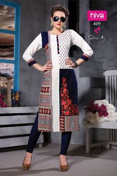 Fashion is about dressing according to what's fashionable. Style is more about being yourself. HIVA introduces DIVA Catalogue, kurtis which are made up of Rayon, best for this season. Pakistani Dress Design, Pakistani Outfits, Indian Outfits, Kurti Sleeves Design, Kurta Neck Design, Kurta Designs Women, Blouse Designs, Morocco Fashion, Stylish Dress Designs