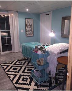 Esthetics treatment room, at home salon, full body wax and lash extensions IKEA Instagram @smooth_waxandlashlounge