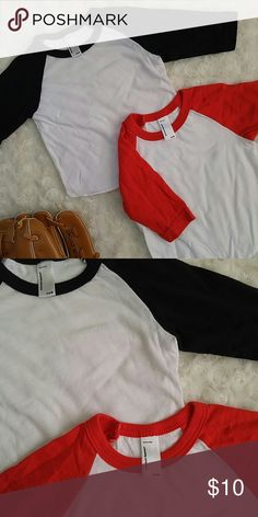 Two unisex baseball tees Preloved. Good condition. Red and black. American Apparel Shirts & Tops Tees - Long Sleeve