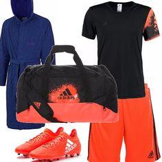 Per una partita di calcetto , il completo nero e arancio con pantaloncino e maglietta , scarpette con tacchetti arancio e borsa coordinata per riporre tutto il necessario, anche l'accappatoio in microfibra, pratico e leggero.