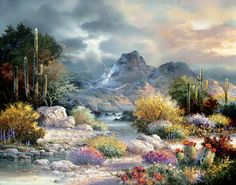 Painted by James Lee, the Springtime Valley wall mural from Murals Your Way will add a distinctive touch to any room. Sunsout Puzzles, James Lee, Thomas Kinkade, Cross Paintings, House Paintings, Landscape Paintings, Best Photographers, Spring Time, Digital Prints
