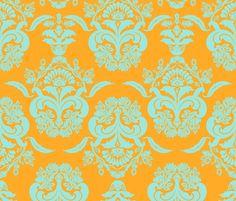 damask gloral dolphin sunny fabric by katarina on Spoonflower - custom fabric