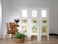 How to Make a Mirrored Room Divider  Take a day to make a folding screen, using molding trim as frames for mirror and picture inserts.