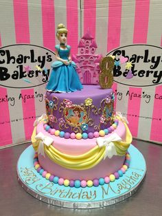 Disney Princesses themed 2-tier cake with 3D Cinderella & 2D castle | Flickr - Photo Sharing!
