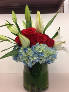 DIY 4th Of July Flower Theme Using Red Roses, Blue Hydrangea And Oriental  Lilies.