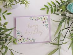 "5-pack/10-pack, ""Happy Birthday"" Cards & Lavender Envelopes, Two-Corner Floral Border by LittleOakCardCo on Etsy https://www.etsy.com/listing/261261587/5-pack10-pack-happy-birthday-cards"