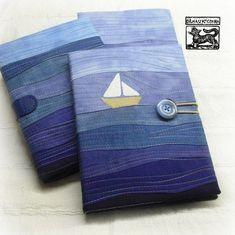 Šťastnou plavbu v roce 2016 Jean Crafts, Denim Crafts, Notebook Covers, Journal Covers, Fabric Book Covers, Diary Covers, Fabric Postcards, Bible Covers, Denim Ideas