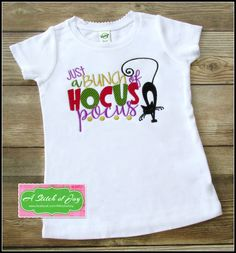 8ca3127b Girl's Halloween Bodysuit or Shirt, Just a Bunch of Hocus Pocus, Black Cat,  Halloween