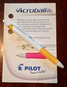 Pilot Acroball Pure White pen.  #PenItFWD