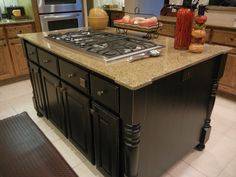 AFTER - kitchen island transformed by slightly distressing Space Paint It! by Karla Boddie